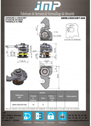 Serrure à crochet 008 Gamme Électrique IP65 - Plan Technique