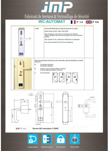 Serrure à monnayeur 33000EU.001.RAS pour toilettes publiques - Plan Technique 1
