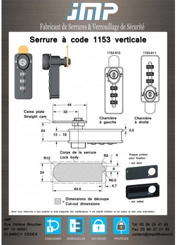 Serrure à code 1153 verticale - Plan Technique