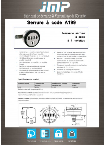 Serrure à code A199 4 molettes - clé de décodage - Plan Technique 1