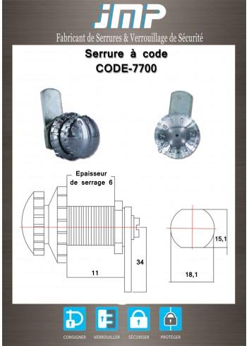 Serrure à code CODE-7700 - Plan Technique 1
