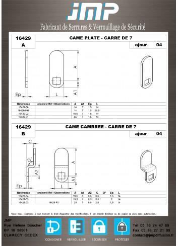 Cames 16429 - Plan Technique