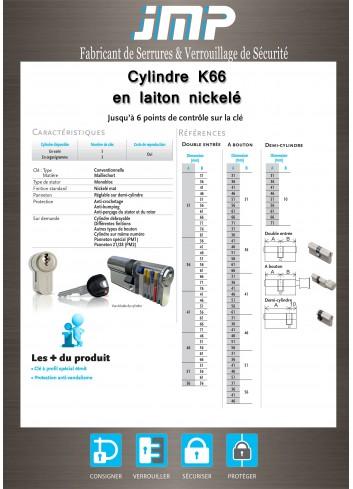 Cylindre européen anti-bumping K66 avec carte de propriété - Plan Technique 1