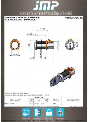 Serrure à pêne escamotable PE992-UGL-EL - Plan Technique
