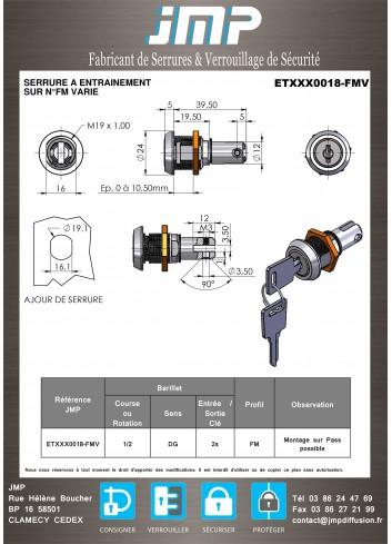 Serrure à entraînement pour meuble ETXXX0018 - Plan Technique