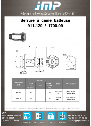 Serrure à came batteuse 911-120 - Plan Technique