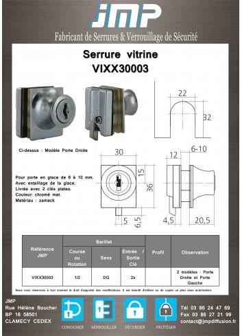Serrure vitrine VIXX30003 - Plan Technique
