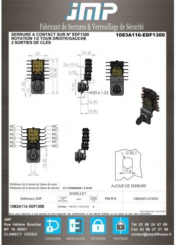 Serrure à contact 1083A116-EDF1300 - Plan Technique