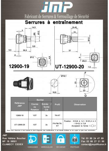 Serrure à entraînement UT-12900-20 pour meuble - Plan Technique