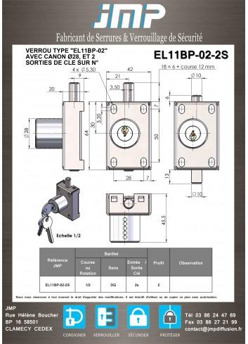 Serrure à verrou à clé non prisonnière EL11BP-02-2S - boitier inox - Plan Technique