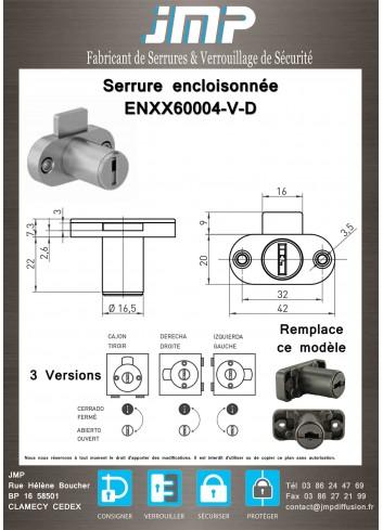 Serrure encloisonnée ENXX60004-V-D - Plan Technique