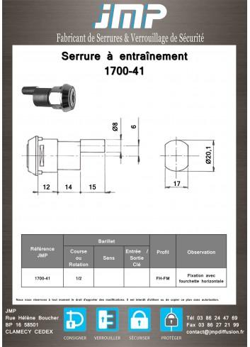 Serrure à entraînement 1700-41 pour meuble - Plan Technique