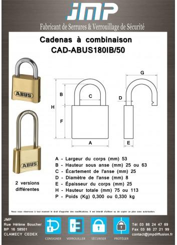 Cadenas à combinaison CAD-ABUS180IB/50 - plan technique