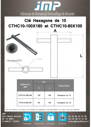 Clé Hexagone de 10 CTHC10-100X180 et CTHC10-80X100 - plan technique