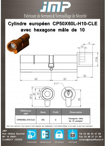 Cylindre européen CP50X60L-H10-CLE avec hexagone mâle de 10 pompier - plan technique
