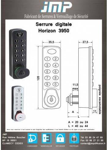 Serrure à code digitale Horizon 3950 - plan technique