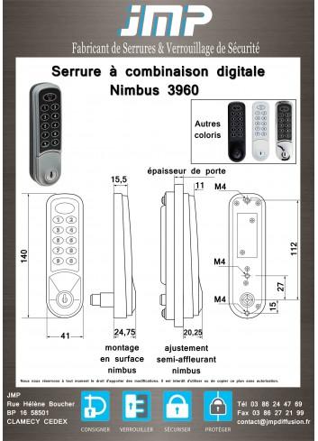 Serrure à combinaison digitale Nimbus 3960 - plan technique