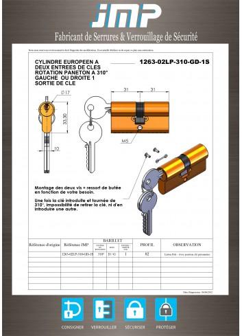Serrure interverrouillage Cylindre européen 310 d° G ou D clé prisonnière - Plan Technique