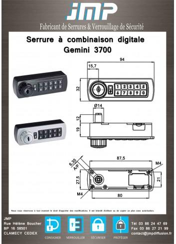 Serrure à combinaison digitale Gemini 3700 - plan technique