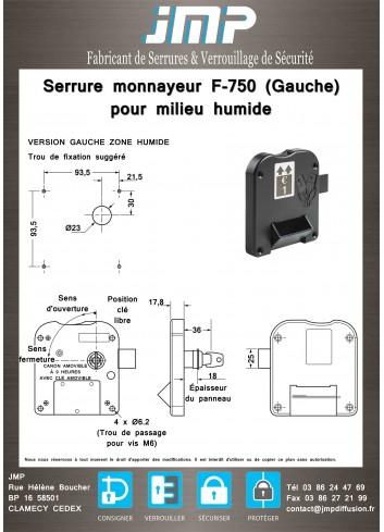 Serrure monnayeur pour milieu humide F-750 - plan technique version gauche