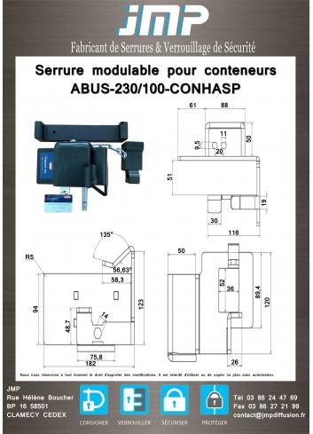 Serrure modulable pour conteneurs ABUS-230/100-CONHASP - Plan Technique