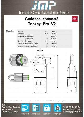 Cadenas connecté DOM-TAPKEY-CAD - plan technique - 1