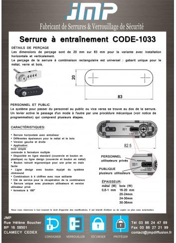Serrure à entraînement CODE-1033 avec code mécanique - Plan Technique