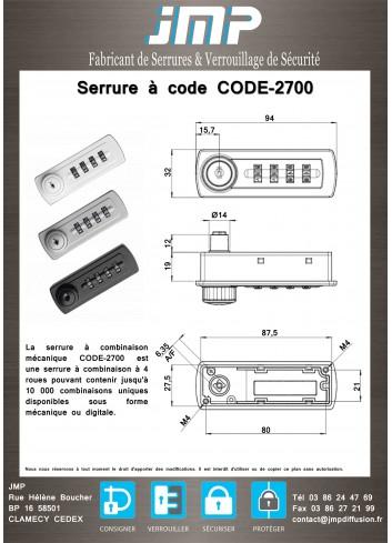 Serrure à code CODE-2700 - Plan Technique