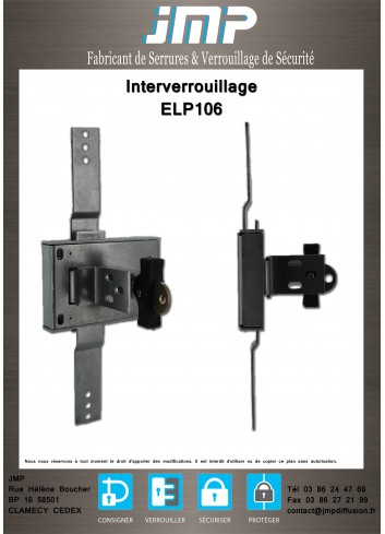 Serrure de porte interverrouillage ELP106 - Plan Technique