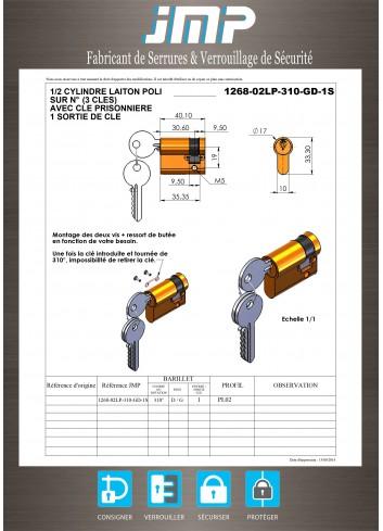 Serrure interverrouillage 1268-02LP-310-GD-1S 1/2 Cylindre européen - Plan Technique