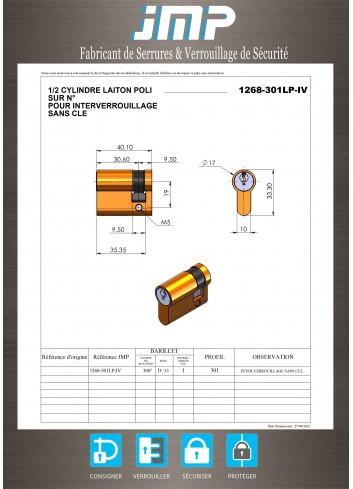 Serrure interverrouillage 1268-301LP-IV 1/2 Cylindre Européen - Plan Technique